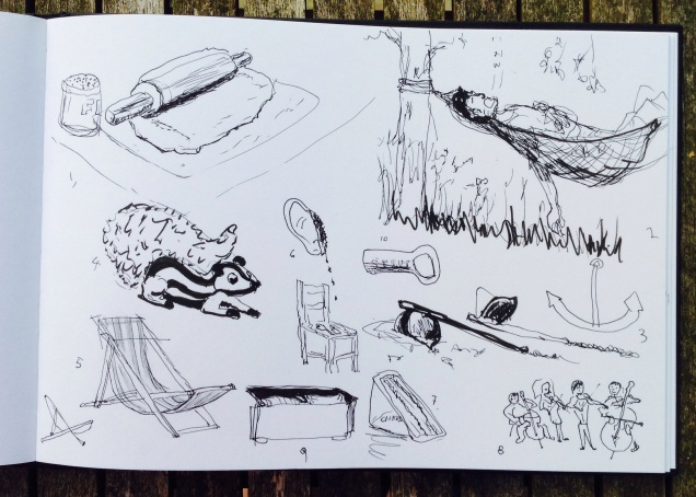 Ten random objects drawn left handed in half an hour